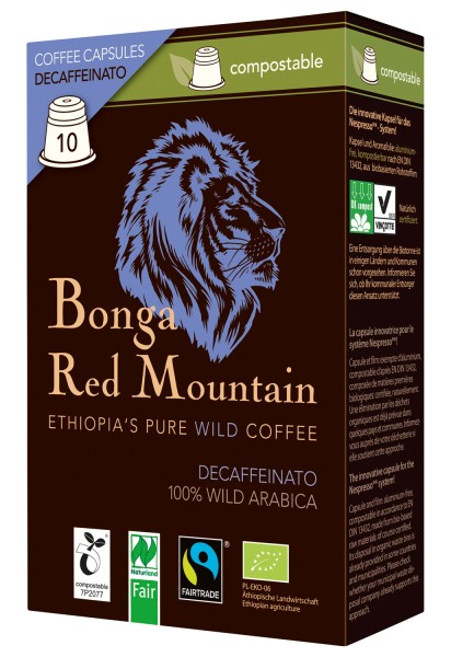 Bonga Red Mountain Decaffeinato kompostierbare Kapseln 55 g