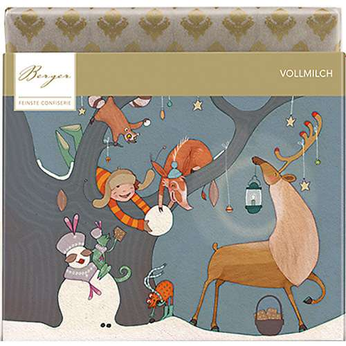 Berger Bio Fairtrade Vollmilch-Schokolade Winter mit Rentier 90 g