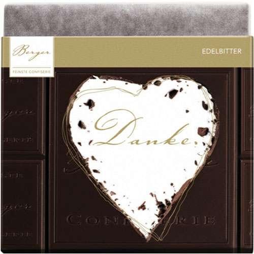 "Berger Schokolade Edelbitter ""Danke"" 90 g"