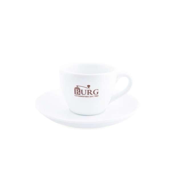 Espresso Tasse und Untersetzer mit Burg Logo