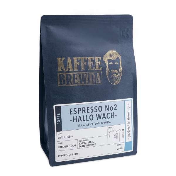 KaffeeBREWDA Espresso No2 -Hallo Wach- 250 g Bohne