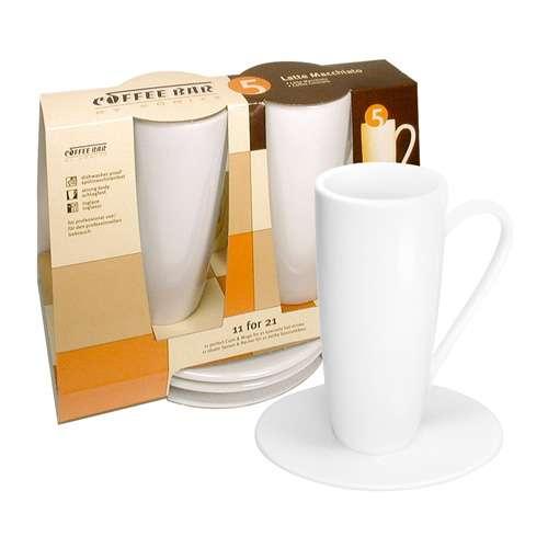 Könitz Latte Macchiato 2er Set Tassen & Untertassen weiß 205 ml