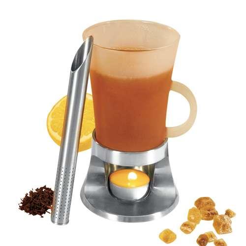 Leopold Tee Set: Tea Tube Set mit Glastasse und Stövchen