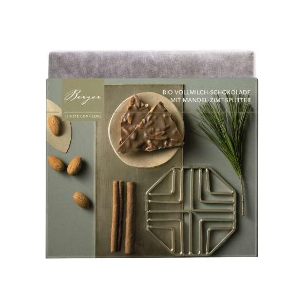 Berger Bio Fairtrade Vollmilch-Schokolade mit Mandel-Zimt-Splittern 90 g
