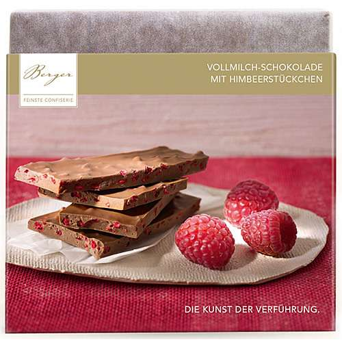 Berger Vollmilch-Schokolade mit Himbeerstückchen 90 g