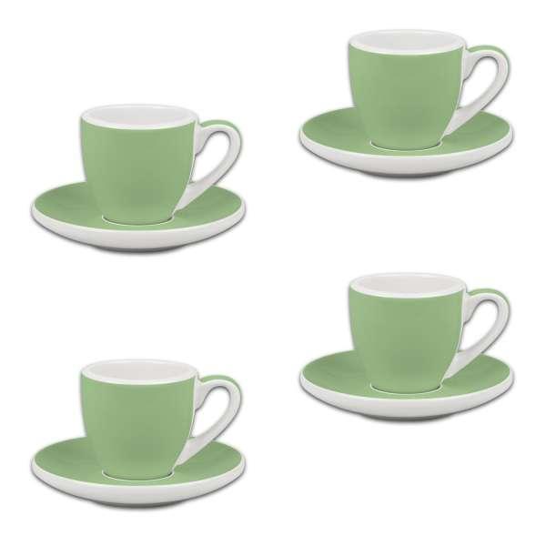 Könitz Espresso 4er Set Tassen & Untertassen grün 50 ml
