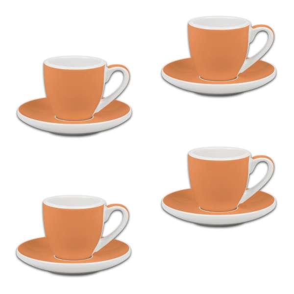 Könitz Espresso 4er Set Tassen & Untertassen orange 50 ml
