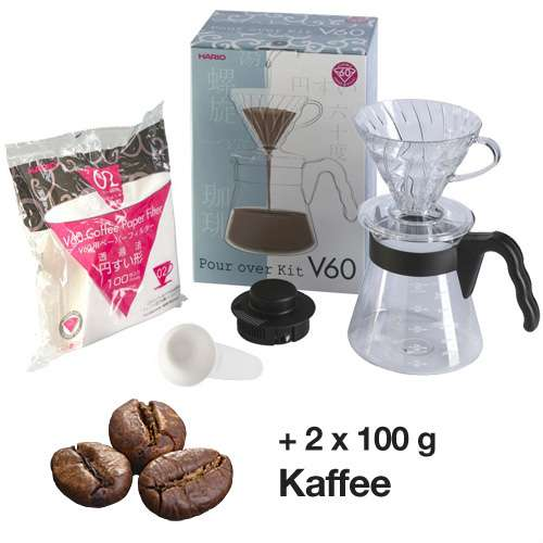 HARIO Pour over Kit V60 Einsteiger-Set + 200 g Kaffee