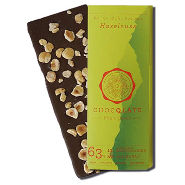 CHOCQLATE Virgin Cacao Bio Schokolade Haselnuss 75 g