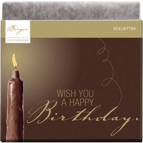 "Berger Schokolade Edelbitter ""Wish You A Happy Birthday"" 90 g"