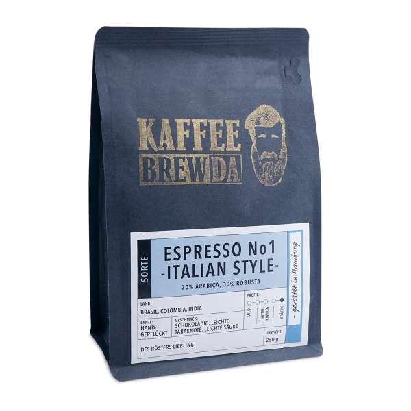 KaffeeBREWDA Espresso No1 -Italian Style- 250 g Bohne