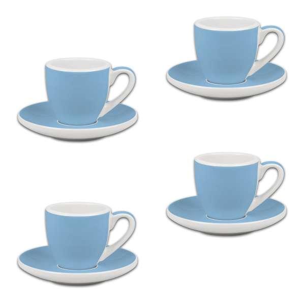 Könitz Espresso 4er Set Tassen & Untertassen blau 50 ml
