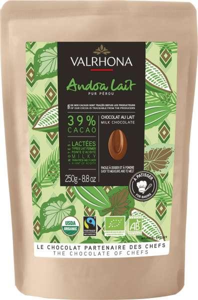 VALRHONA Bio Fairtrade Milchschokolade Drops Lait Andoa 39% 250 g