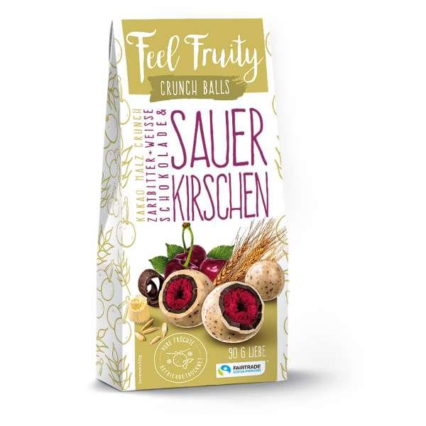 Feel Fruity Kakao Malz Crunch Zartbitter + Weisse Schokolade & Sauerkirsche 90 g