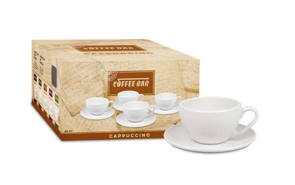 Könitz Cappuccino 4er Set Tassen & Untertassen weiß 190 ml