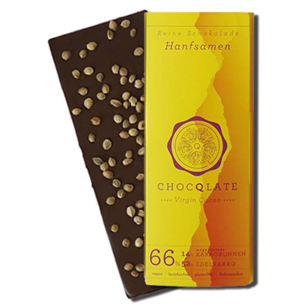 CHOCQLATE Virgin Cacao Bio Schokolade Hanfsamen 75 g