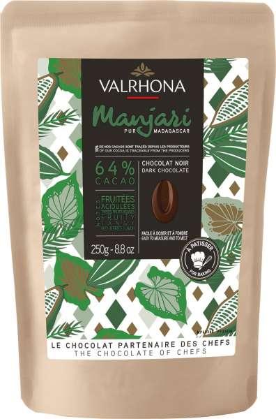 VALRHONA Dunkle Schokolade Drops Noir Manjari 64% 250 g