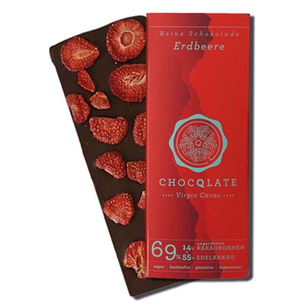 CHOCQLATE Virgin Cacao Bio Schokolade Erdbeere 75 g