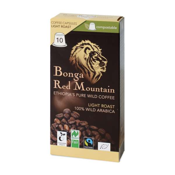 Bonga Red Mountain Light Roast kompostierbare Kapseln 55 g