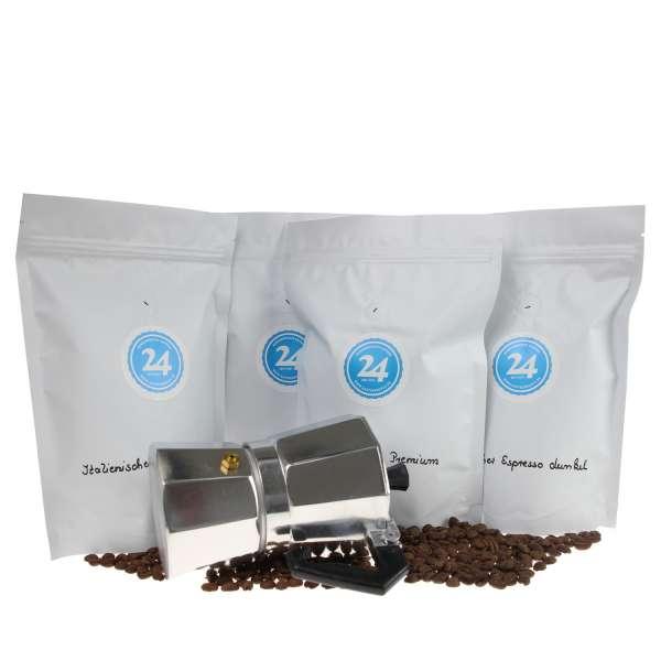 Espresso Probierset  4 x 250g + italienische Espressokanne geschenkt!