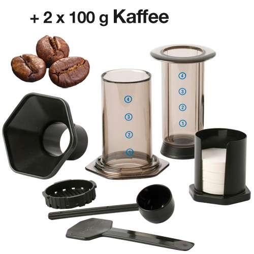 AeroPress Coffee & Espresso Maker Zubereiter-Set + 200 g Kaffee
