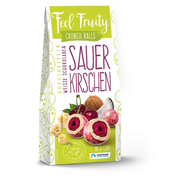 Feel Fruity Kokosraspeln Weisse Schokolade & Sauerkirsche 90 g