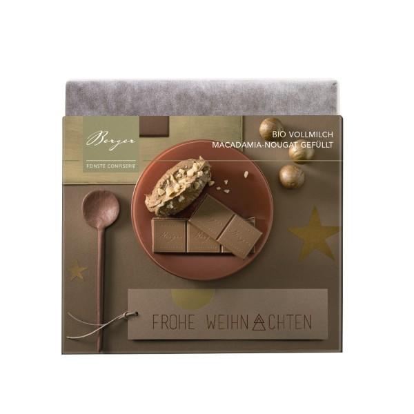 Berger Bio Fairtrade Vollmilch-Schokolade mit Macadamia-Nougat gefüllt 90 g