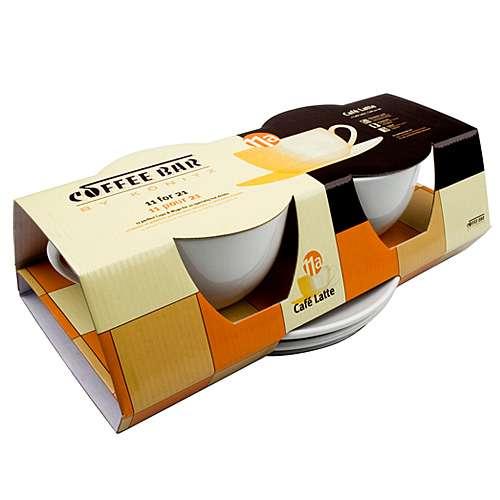 Könitz Cafe Latte 2er Set Tassen & Untertassen weiß 460 ml