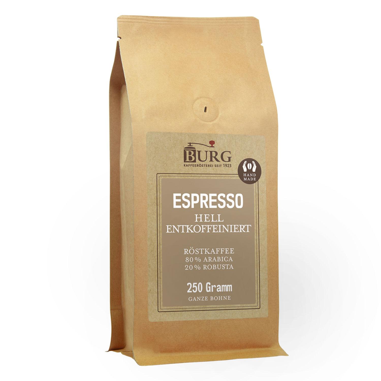 f984ee5ac6e252 BURG Espresso entkoffeiniert hell 250 g Bohne