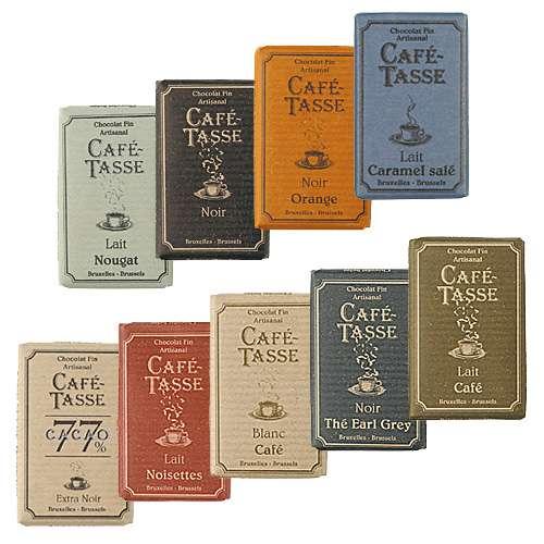 Café-Tasse Schokolade Probierset 9 Täfelchen á 9 g