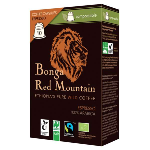 Bonga Red Mountain Espresso kompostierbare Kapseln 55 g