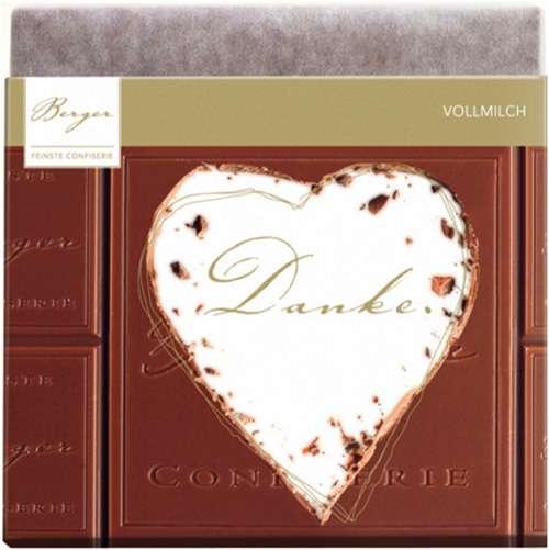"""Berger Schokolade Vollmilch """"Danke"""" im Herz 90 g"""