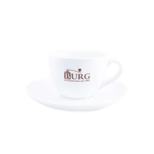 BURG Cappuccino Tasse und Untersetzer