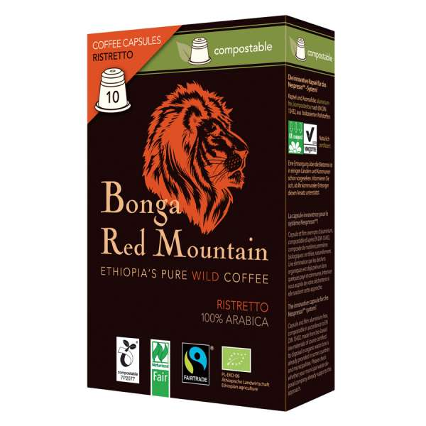 Bonga Red Mountain Ristretto kompostierbare Kapseln 55 g